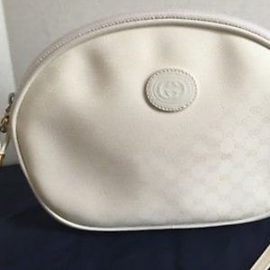 Vintage Gucci White Leather Shoulder Bag